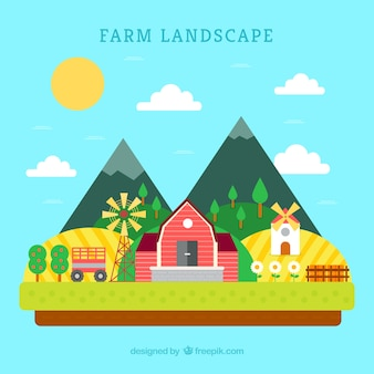 Farm landscape with mountains in flat design