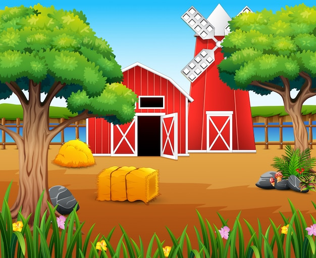 Farm landscape with shed and windmill on the river bank