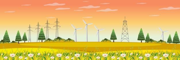 Farm landscape with wind turbine in autumn season