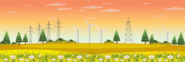 Пейзаж фермы с ветряной турбиной в осенний сезон