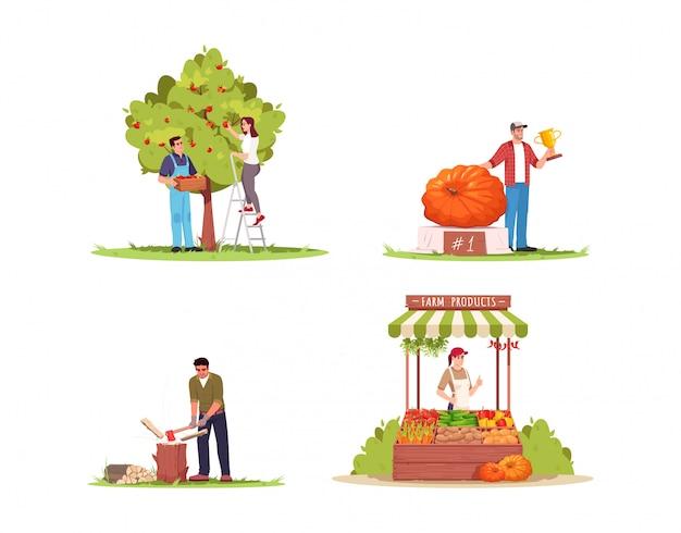농장 라이프 스타일 세미 평면 그림을 설정합니다. 사람들은 사과 수확을 수집합니다. 남자는 추수 축제 상을 수상합니다. 남자는 나무를 자른다. 상업용 농민 2d 만화 캐릭터 컬렉션