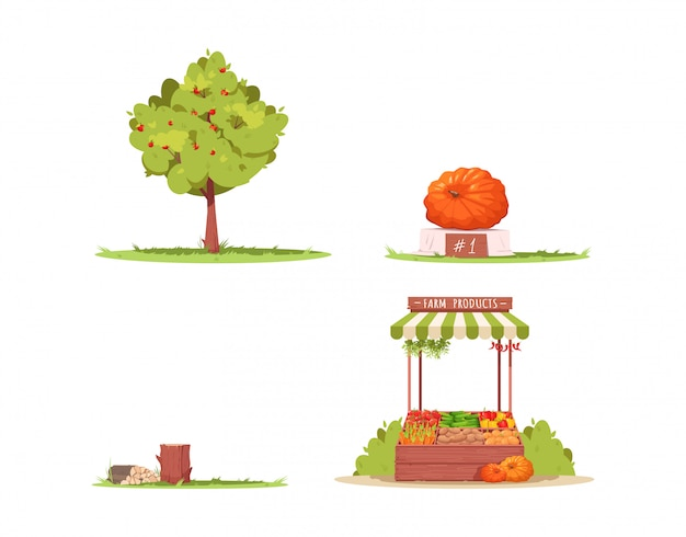 Farm lifestyle semi flat rgb color illustration set. apple tree. ripe pumpkin as county festival winner. tree logs. ranch attributes isolated cartoon object collection on white background