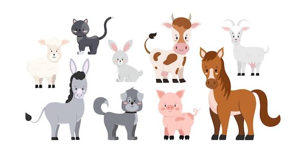 Набор сельскохозяйственных животных, изолированные на белом фоне.