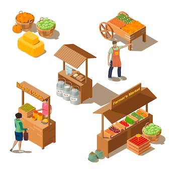 Farm local market with vegetables in isometric style