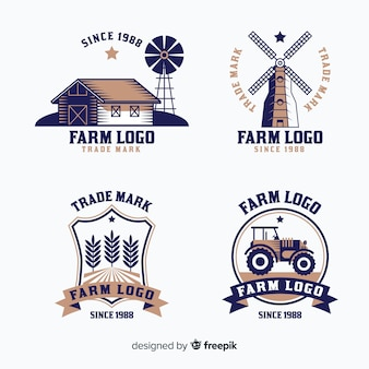 Farm logo collection in flat style