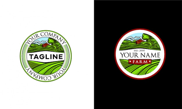 The farm logo. a round emblem with the image of a farm and green fields.