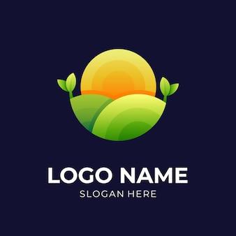 ファームのロゴ、太陽と葉、コンビのロゴ