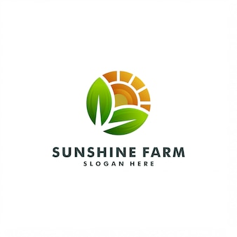 Farm logo template design. sun creative vector. sunshine nature logotype