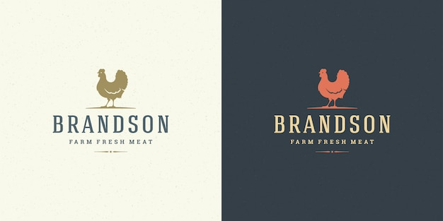 Farm logo vector illustration chicken silhouette good for butcher shop or restaurant badge