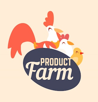 Farm logo with a rooster, chicken and chicken in cartoon style.