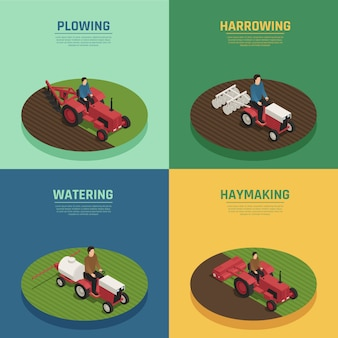 Farm machinery 4 изометрические композиции