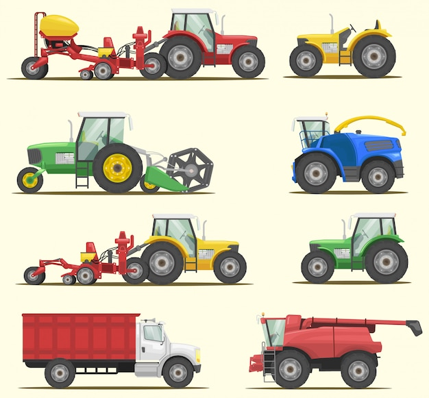 Farm machinery vector set