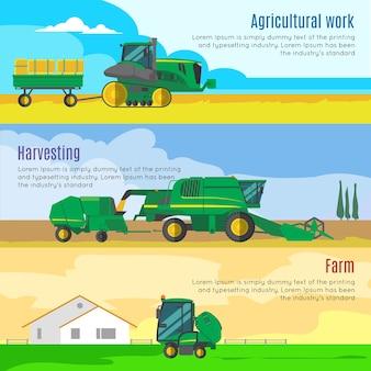 Set di bandiere orizzontali di macchine agricole