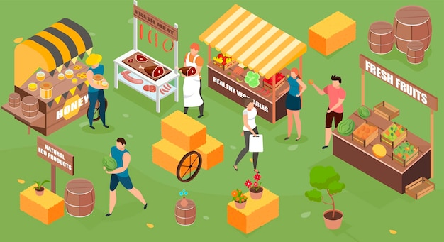 Farm market isometric illustration