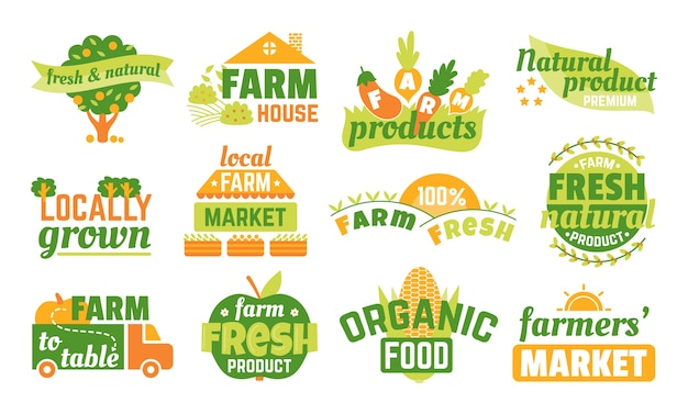 Farm market labels set of  illustrations, banners and ribbons for organic, fresh and farmer products . green vegetarian logo, premium quality farming emblems. natural products stickers.