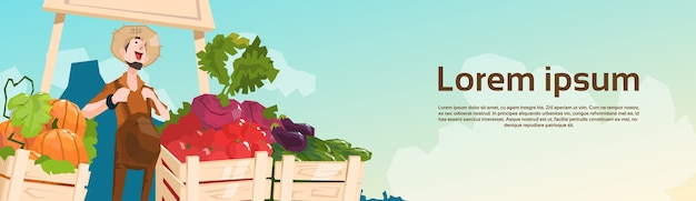 Farm market organic eco fruits vegetables grocery