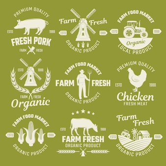 Farm monochrome emblems