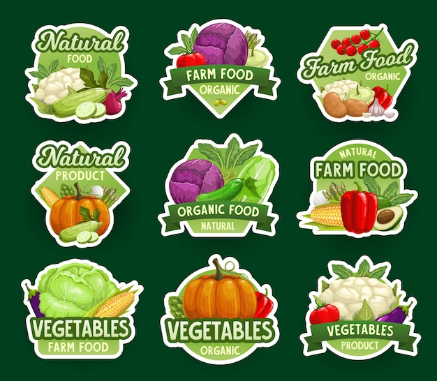 Farm natural vegetable icons and stickers, veggies