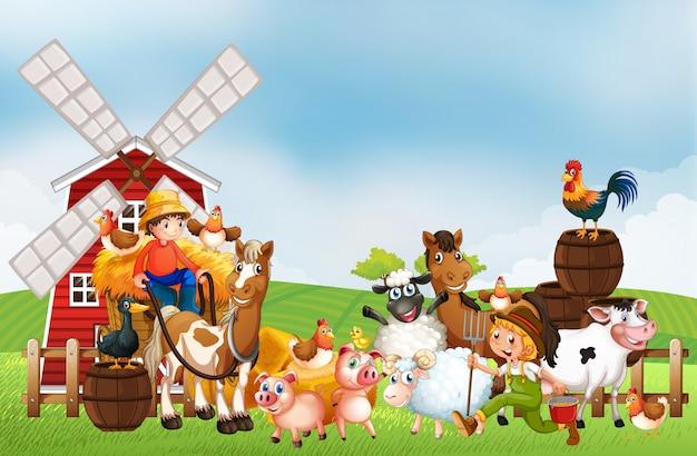Fattoria nella scena della natura con mulino a vento e fattoria degli animali
