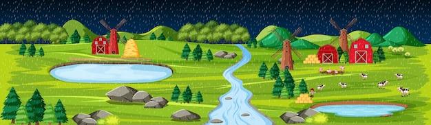 夜のシーンで納屋の風景と農場の自然