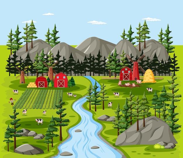 納屋の風景シーンと農場の自然
