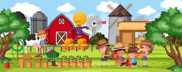 Farm outdoor scene with many children