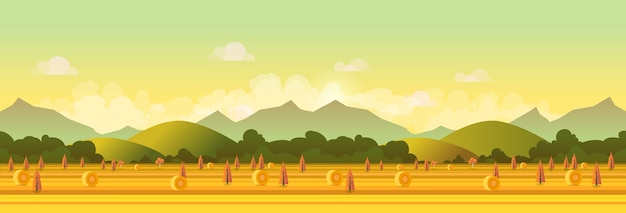Farm panorama, illustration for your design.