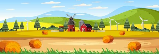 納屋と風車のある農場のパノラマ風景シーン