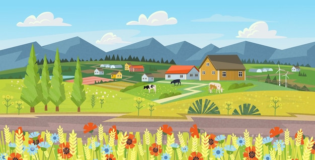 Farm panorama with fields, flowers, grass and cows