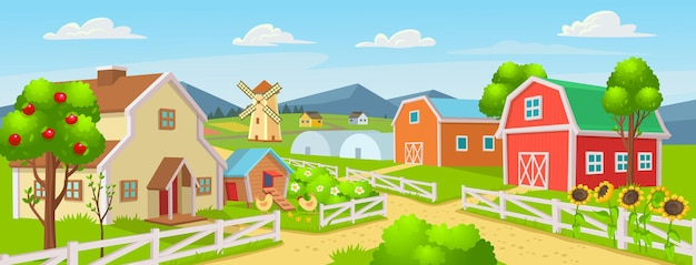 Farm panorama with a greenhouse chicken coop barn houses mills fields trees vector