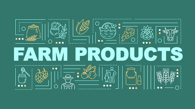 Farm product word concepts banner. dairy and wheat, natural food. infographics with linear icons on yellow green background. isolated typography. vector outline rgb color illustration