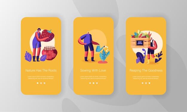 농장 생산 모바일 앱 페이지 온보드 화면 세트.