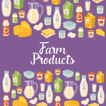 Farm products background with dairy icons