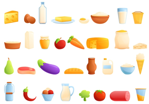 Farm products icons set, cartoon style
