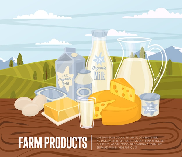 Farm products illustration with dairy composition
