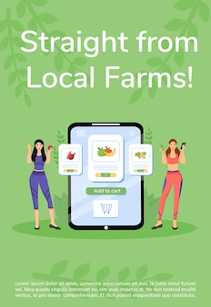 Farm products online ordering poster flat template. veggies and fruits buying mobile app brochure, booklet one page concept design with cartoon characters. fresh greens flyer, leaflet