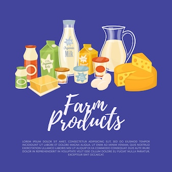 Farm products template with dairy composition