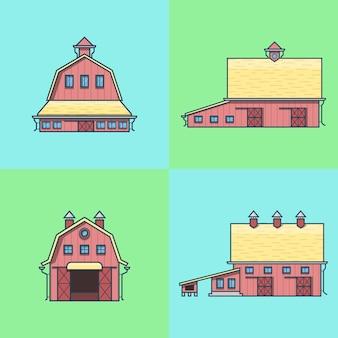 농장 목장 헛간 저장소 집 창고 곡창 격납고 건축 건물 세트.