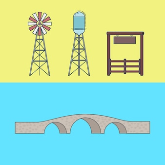Farm rancho entrance countryside water tower bridge element architecture building set.