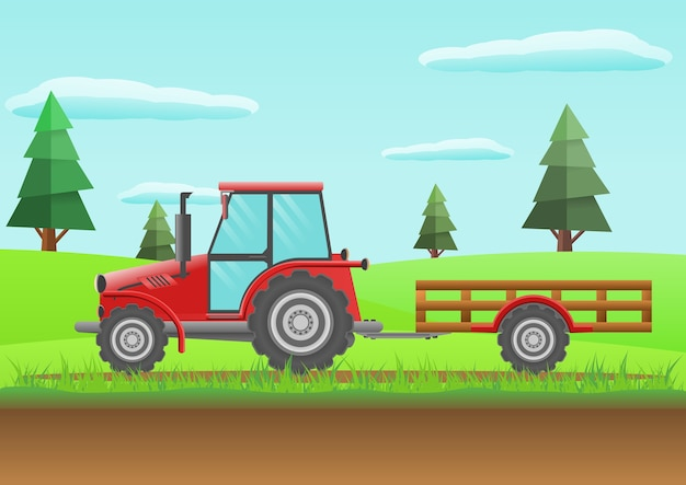 Farm red tractor