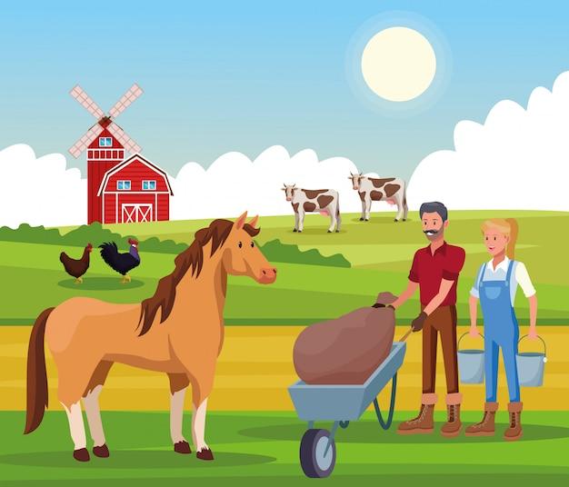 Farm rural cartoons
