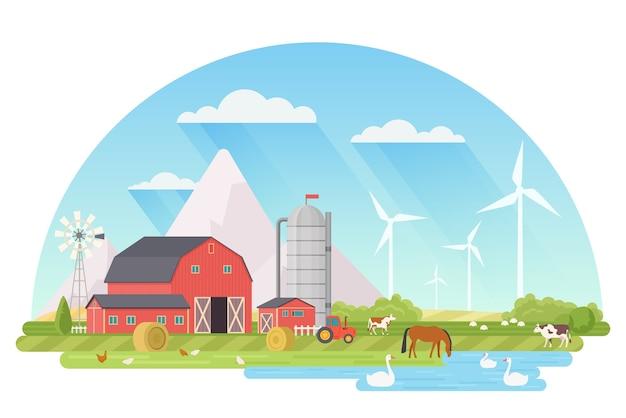 Ферма сельский пейзаж сельское хозяйство и фермерство