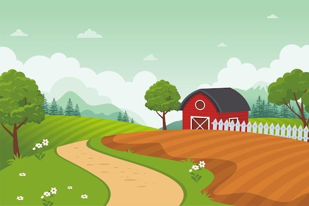ファーム農村風景ベクトルの背景。美しい自然の風景と赤い納屋の家