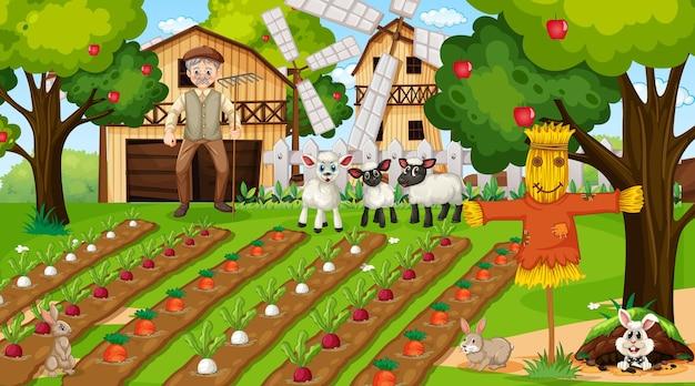 Сцена на ферме в дневное время со старым фермером и милыми животными