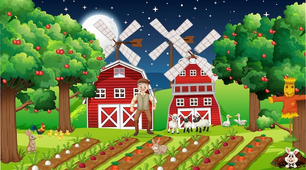 Ночная ферма со старым фермером и милыми животными