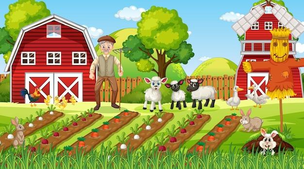 Scena di fattoria di giorno con vecchio contadino e simpatici animali