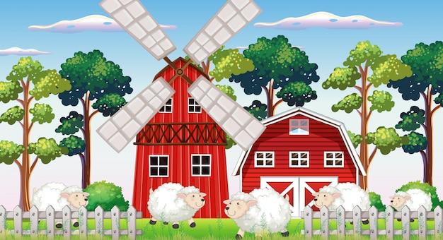 Ферма сцена в природе с сарай и ветряная мельница и овец