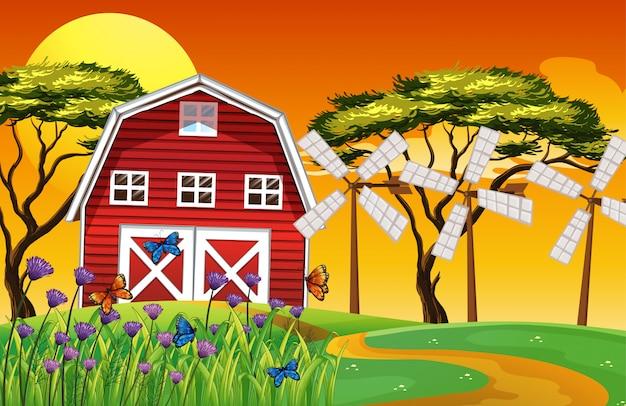 헛간과 풍차와 자연의 농장 현장