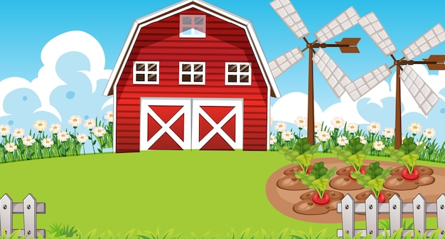 納屋と風車のある自然の農場のシーン