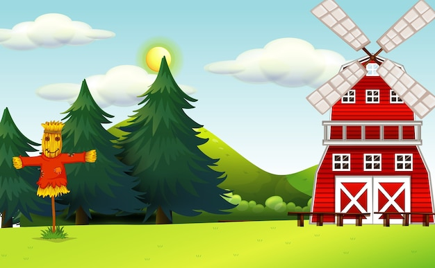 Farm scene in nature with barn and scarecrow